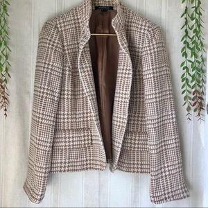 Ellen Tracy Nude Houndstooth Blazer Jacket